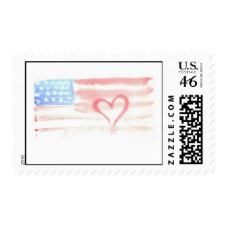Watercolor Flag with Heart U S Postage Stamp