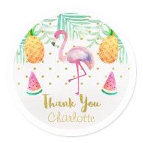 Watercolor Flamingo 1st Birthday Favor Sticker