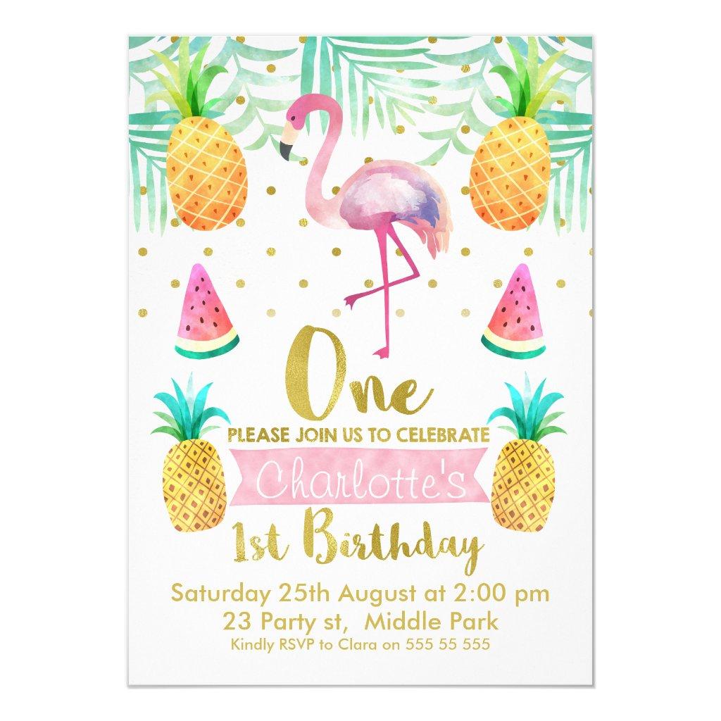 Watercolor Flamingo 1st Birthday Invitation