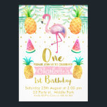 """Watercolor Flamingo 1st Birthday Invitation<br><div class=""""desc"""">This cute tropical watercolor 1st birthday invitation features a pink flamingo and some fruit. The design also includes some faux gold dots and a watercolor paper background image. The back of the invitation is a hot pink watercolor diagonal striped pattern on a watercolor paper image. This is a fun colorful...</div>"""