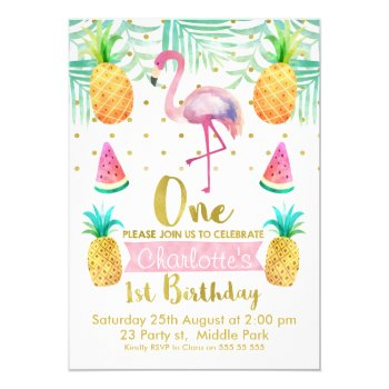 Watercolor Flamingo 1st Birthday Invitation by Sugar_Puff_Kids at Zazzle