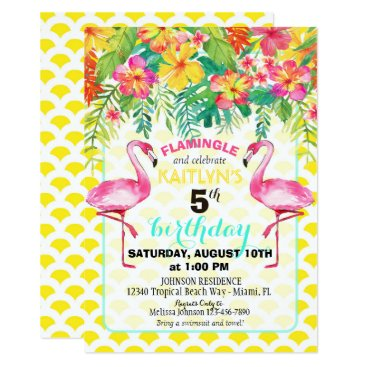 Beach Themed Watercolor Flamingo and Tropical Floral Birthday Card