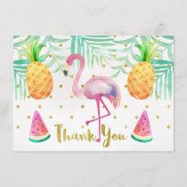 Watercolor Flamingo Birthday Thank You Card