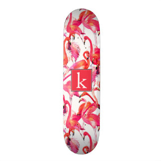 Watercolor Flamingo In Watercolors | Add Your Name Skateboard