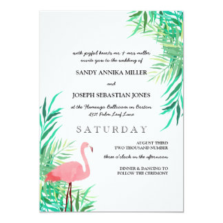 Watercolor Flamingo & Palm Leaves Tropical Wedding Card