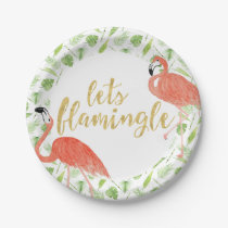 Watercolor Flamingo Party Paper Plates