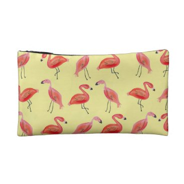 Beach Themed Watercolor Flamingo Pattern Cosmetic Bag