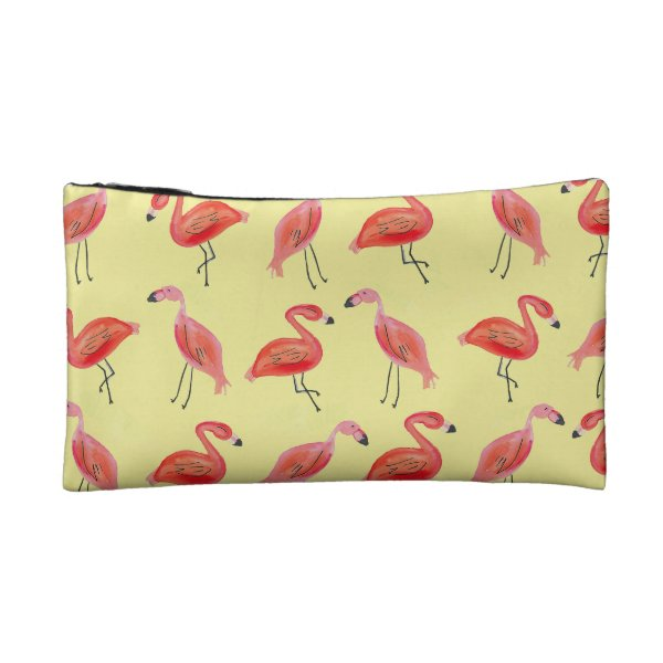 Watercolor Flamingo Pattern Cosmetic Bag
