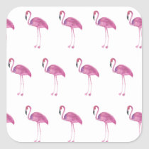 Watercolor Flamingo Pattern on a Sticker