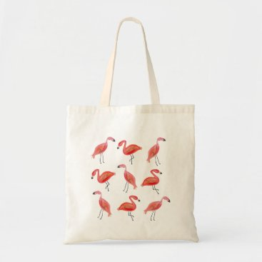 Beach Themed Watercolor Flamingo Pattern Tote Bag