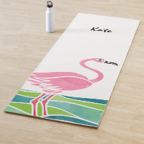 Watercolor Flamingo Personalized Pretty Bird Yoga Mat