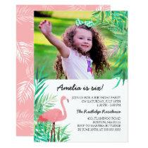 Watercolor Flamingo Photo Birthday Party Invitation