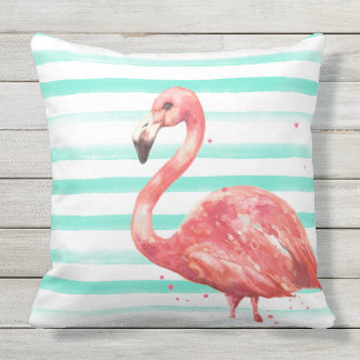 Watercolor Flamingo Pillow with Stripes