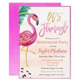 Watercolor Flamingo Retirement Party Invitation