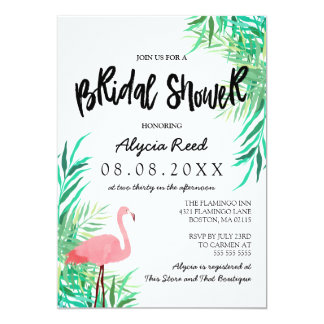 Watercolor Flamingo Tropical Bridal Shower Card