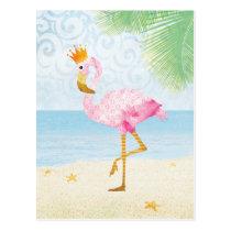 Watercolor Flamingo with Royal Crown Postcard