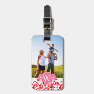 Watercolor Flamingos | Add Your Photo & Name Luggage Tag