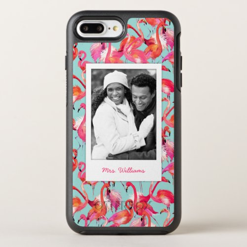Watercolor Flamingos   Add Your Photo & Name Phone Case