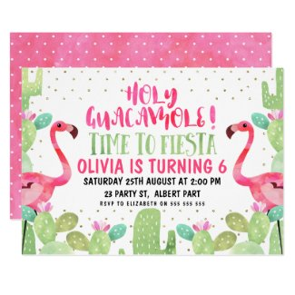 Watercolor Flamingos Birthday Party Invitation