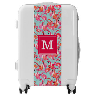 Watercolor Flamingos Gathered | Add Your Initial Luggage