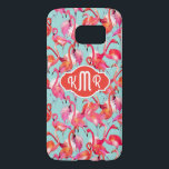 "Watercolor Flamingos Gathered | Monogram Samsung Galaxy S7 Case<br><div class=""desc"">Birds 