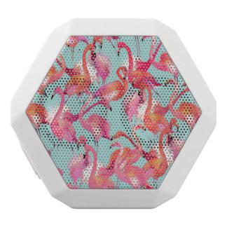 Watercolor Flamingos Gathered White Bluetooth Speaker