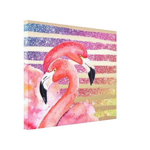 Watercolor Flamingos Glitter Gold Stripes Canvas Print