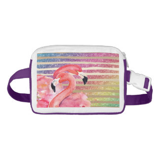 Watercolor Flamingos Glitter Gold Stripes Fanny Pack