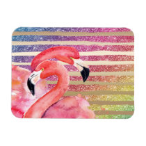 Watercolor Flamingos Glitter Gold Stripes Magnet