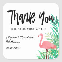 Watercolor Flamingos Palm Leaves Wedding Thank You Square Sticker