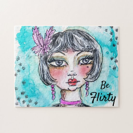 Watercolor Flapper Girl Whimsical Colorful Cute Jigsaw Puzzle