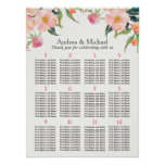 Watercolor Floral 15 Tables Wedding Seating Chart