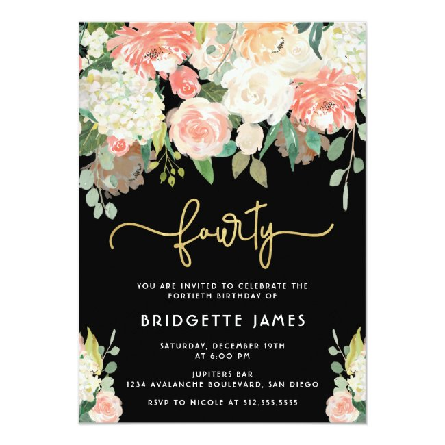 Watercolor Floral 40th Birthday Invitation