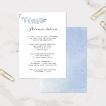 Watercolor Floral accommodation cards