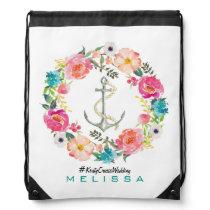 Watercolor Floral and Anchor Drawstring Bag