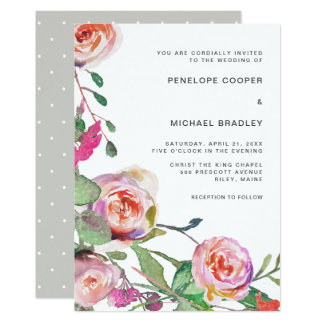 Watercolor Floral and Dots Wedding Card
