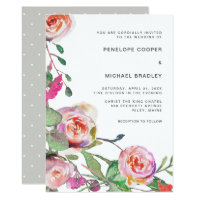 Watercolor Floral and Dots Wedding Invitation