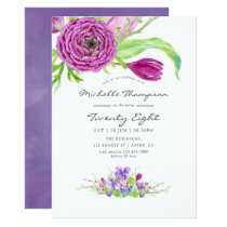 Watercolor Floral Any Age Birthday Party Invite