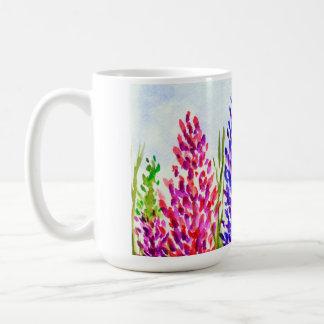Watercolor Floral Art Lupine Wildflowers Purple Coffee Mug