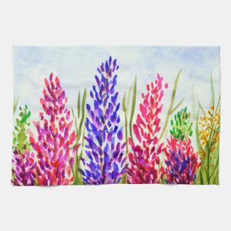 Watercolor Floral Art Lupine Wildflowers Purple Hand Towel