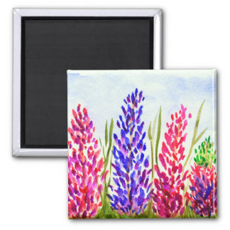 Watercolor Floral Art Lupine Wildflowers Purple Magnet