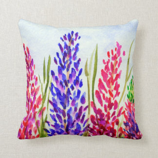 Watercolor Floral Art Lupine Wildflowers Purple Throw Pillow