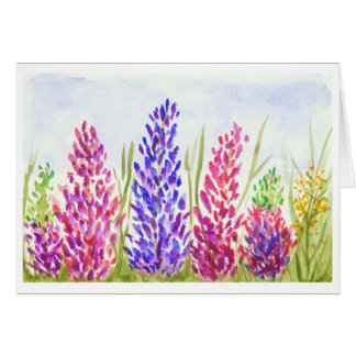Watercolor Floral Art Pretty Lupine Wildflowers Stationery Note Card