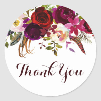 Watercolor Floral Autumn Wedding Thank You Classic Round Sticker
