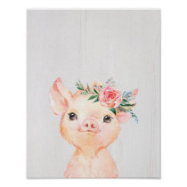Watercolor Floral Baby Pig Poster