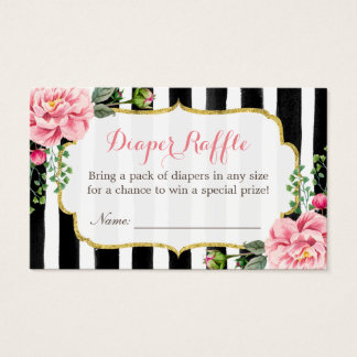Watercolor Floral Baby Shower Diaper Raffle Ticket