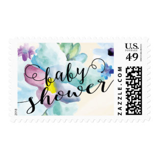 Watercolor Floral Baby Shower Postage Stamp