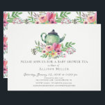 "Watercolor Floral Baby Tea Party Invitation<br><div class=""desc"">Pretty tea baby shower invitation featuring a green tea pot with beautiful pink watercolor  flowers.</div>"