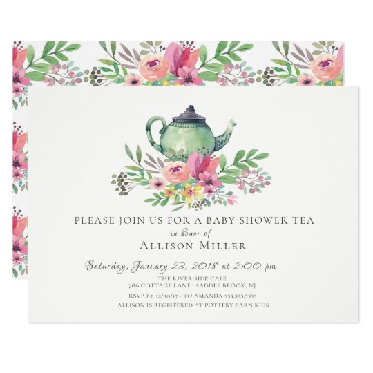 Watercolor floral baby tea party invitation zazzle watercolor floral baby tea party invitation filmwisefo