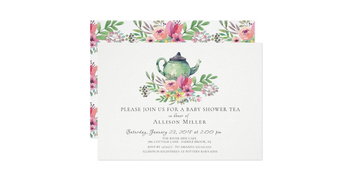 Watercolor Floral Baby Tea Party Invitation | Zazzle.com